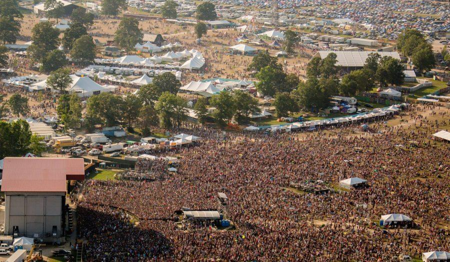 Aerial view of the Bonnaroo Music Festival.