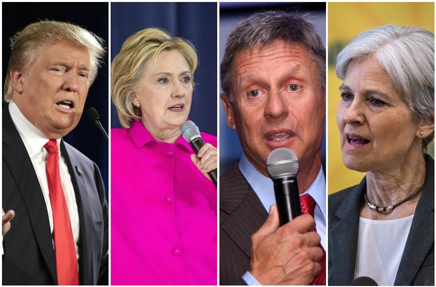 Donald Trump, Hillary Clinton, Gary Johnson, Jill Stein