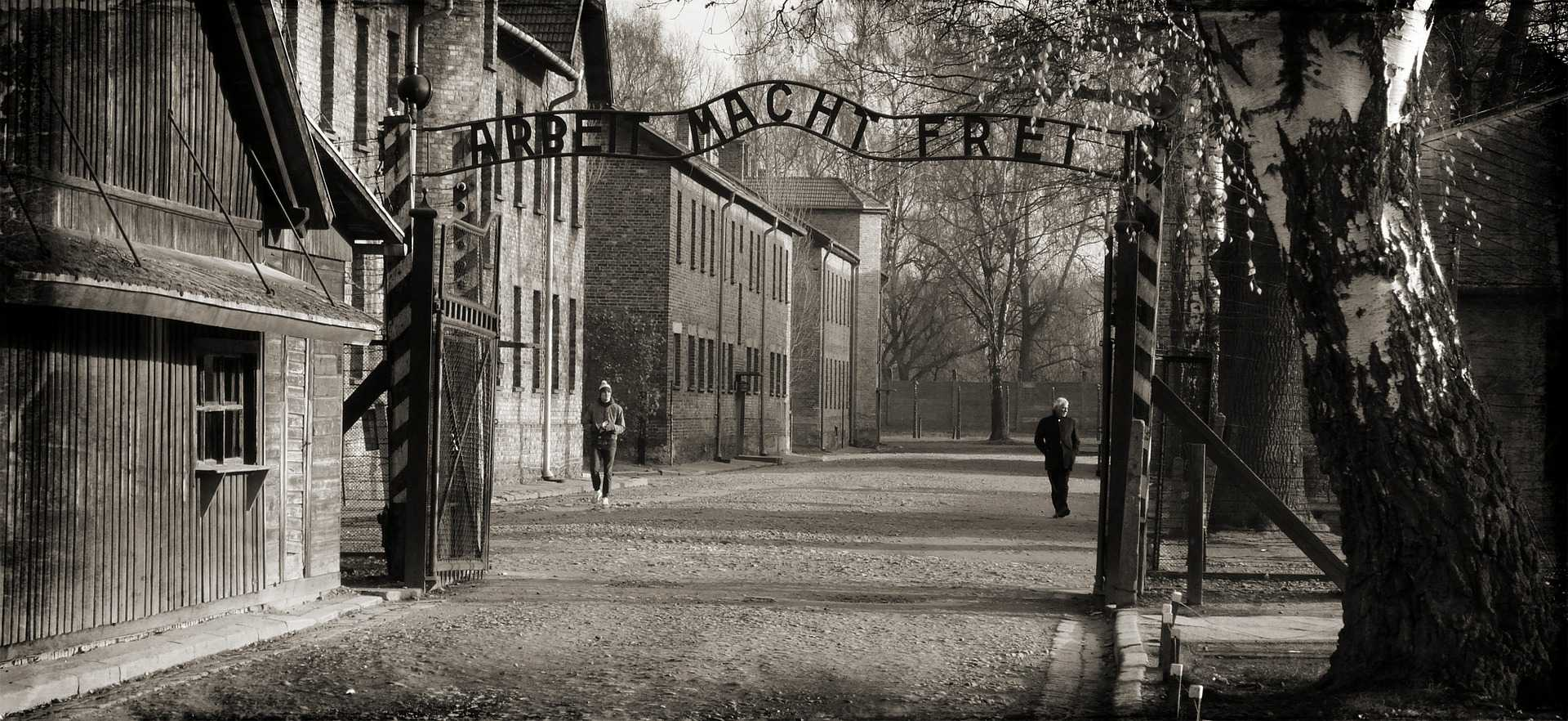 This sign, which hung over the entrance of Auschwitz until it was stolen, translates to