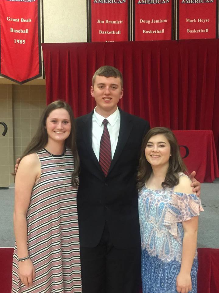 Kelly Keitel (left), Brock Hammond, and Jessie Macklin celebrate their academic achievements at the Student Recognition Banquet on April 26. Keitel was recognized on the Who's Who list and for her 4.0 GPA.