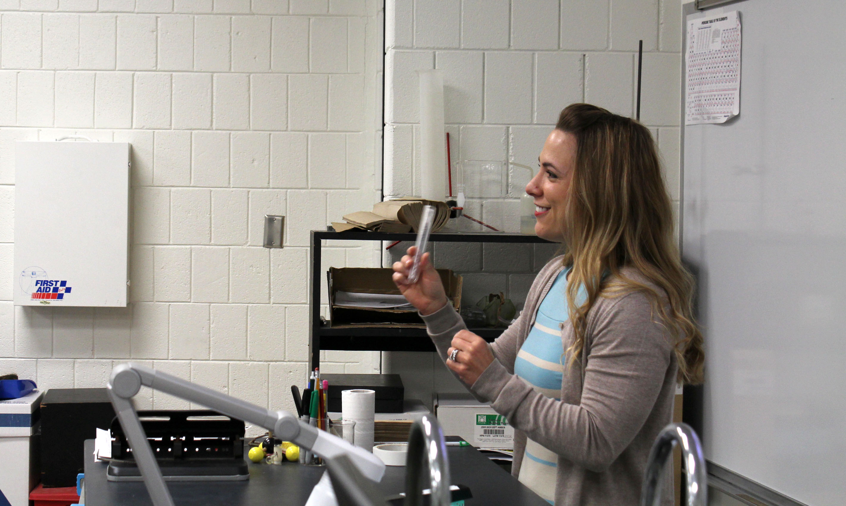 Lake Land College chemistry instructor Claire Tornow  briefs her CHM-120 students before their lab on April 18. Tornow didn't expect to become a teacher, but now feels rewarded by the lasting connections she's made with her students.