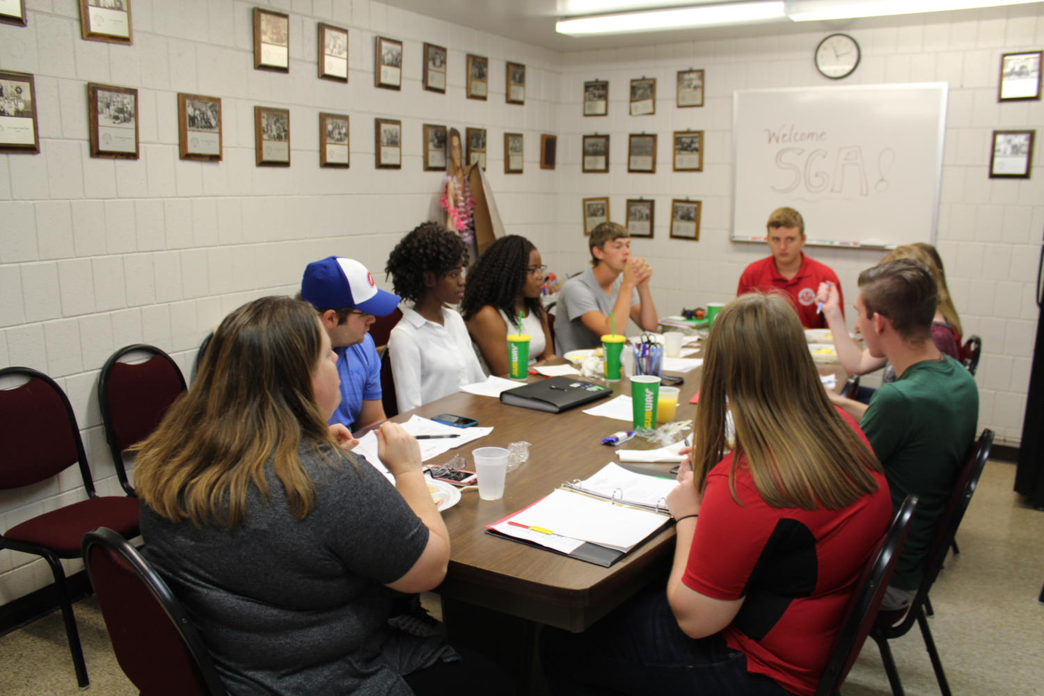 The sophomore members of student government hold a meeting on Oct. 30. Their meetings will be a little fuller now that eight freshman officers have been elected.
