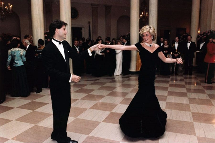 Princess+Diana+of+Wales+dances+with+actor+John+Travolta.+The+Princess+died+in+a+car+crash+in+1997.