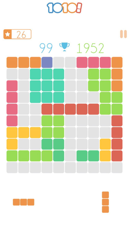 What I assume was born out of the idea for a more construction based Tetris is 1010. A game that gives the player shapes and then tasks them with creating full rows with these shapes to eliminate the row and give them more room to add more shapes and gain more points.