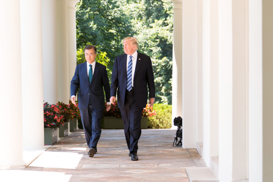 President Donald J. Trump and President Moon Jae-in of the Republic of Korea participate in joint statements on Friday, June 30, 2017, in the Rose Garden of the White House in Washington, D.C.
