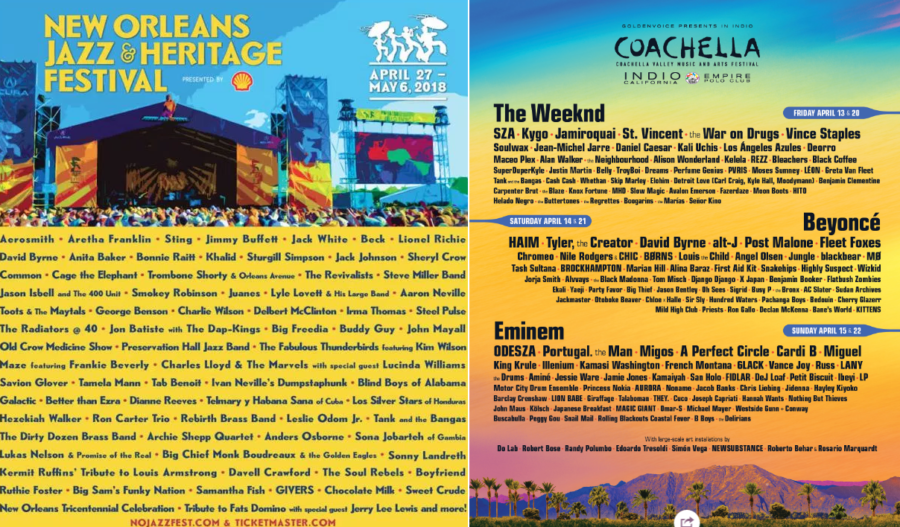Two of the biggest American music festivals, New Orleans Jazz and Coachella are back.  New Orleans kicks off on the 27th of April, and Coachella starts on the 13th.