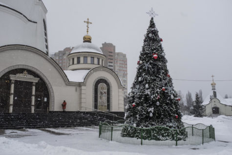 A Christmas tree at the Orthodox Church of Ukraine