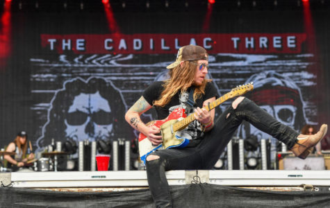 Front-man Jaren Johnston of The Cadillac Three performs at Seven Peaks Festival