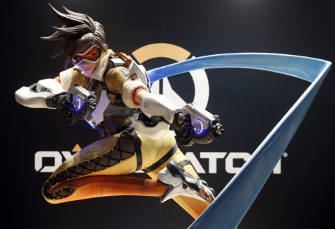 "A figurine of ""Tracer,"" one of two queer characters in the video game ""Overwatch"""