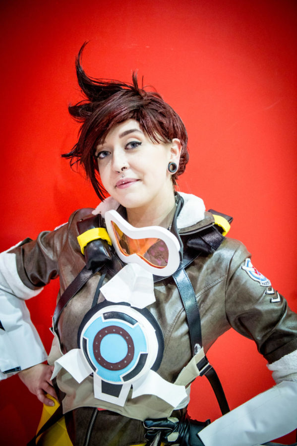 LONDON, ENGLAND - OCTOBER 27:  A cosplayer in character as Tracer from Overwatch during MCM London Comic Con 2017 held at the ExCel on October 27, 2017 in London, England.  (Photo by Ollie Millington/Getty Images)
