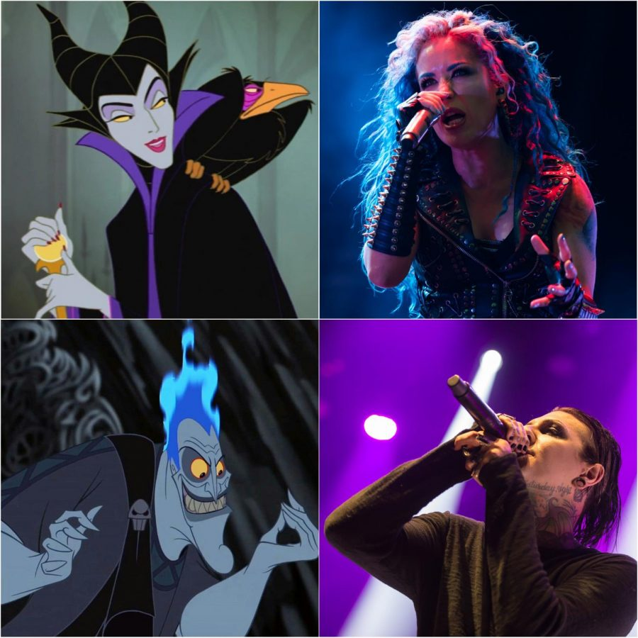 Maleficent (top left), Alissa White-Gluz of Arch Enemy (top right), Hades (bottom left), Chris Motionless of Motionless in White (bottom right)