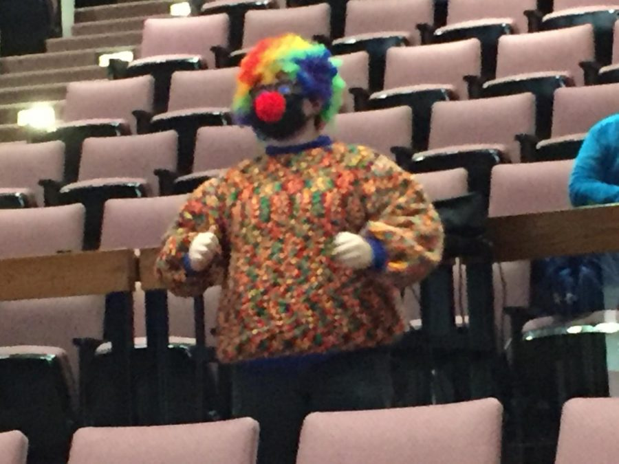 Kai Starrett showing off his clown costume for the judges